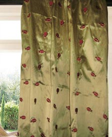 Signature Beetle Silk Embroidery Drapes and Curtains
